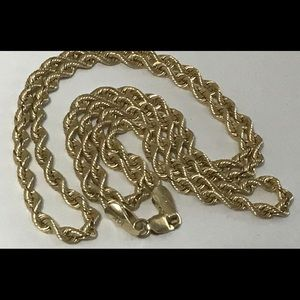 "Jewelry - Vintage Italy 14k Gold 3mm ROPE CHAIN 20"" Necklace"